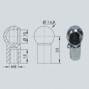 Cage à rotule diamètre 10 (chape M8-Acier-25mm)