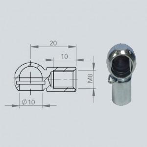 Cage à rotule diamètre 10 (chape M8-Acier-20mm)