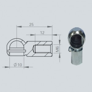 Cage à rotule diamètre 10 (chape M6-Acier-25mm)
