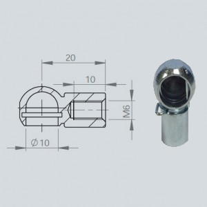 Cage à rotule diamètre 10 (chape M6-Acier-20mm)