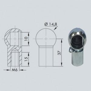 Cage à rotule diamètre 10 (chape M6-Acier-37mm)