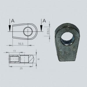Chape à oeil 8/8 (chape M6-Aluminium-16.5mm)