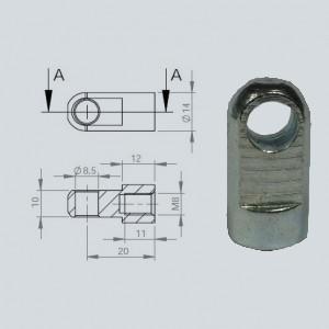 Chape à oeil diamètre 8.5 (chape M8-Acier-20mm)