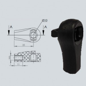 Cage à rotule diamètre 10 (chape M6-Nylon-25mm)